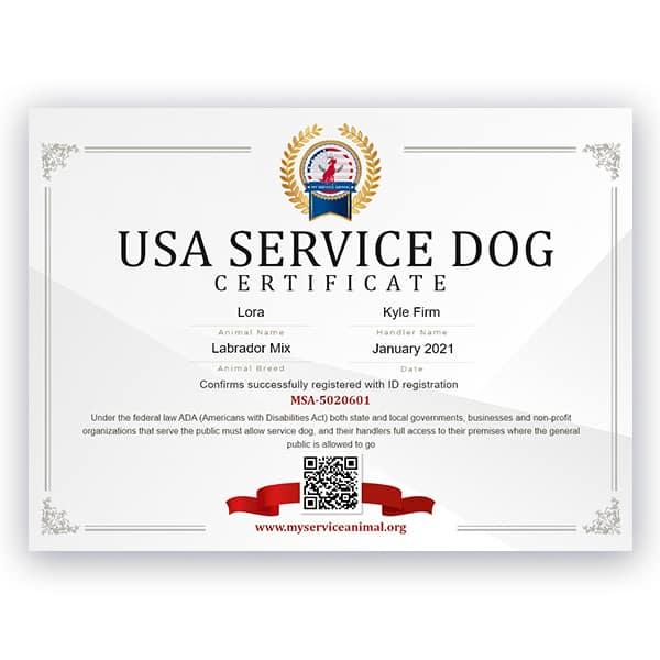 USA Service Dog Certificate